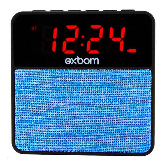 Caixa Som Bluetooth 10w Com Rádio Relógio Exbom Cs-mt3bt Usb