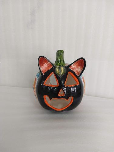 Imagen 1 de 1 de Calabaza Gato Cerámica Talavera Arte Figura Hixi Halloween