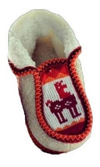 Pantuflas Tejidas Lana De Alpaca Y Corderito - Bolson Niño