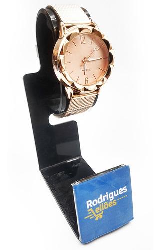 Relógio Feminino Efeito Metálico Quartz Rose Gold Glamour