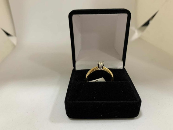 Anillo Compromiso Diamante 20pts Oro Amarillo Y Blanco 14k
