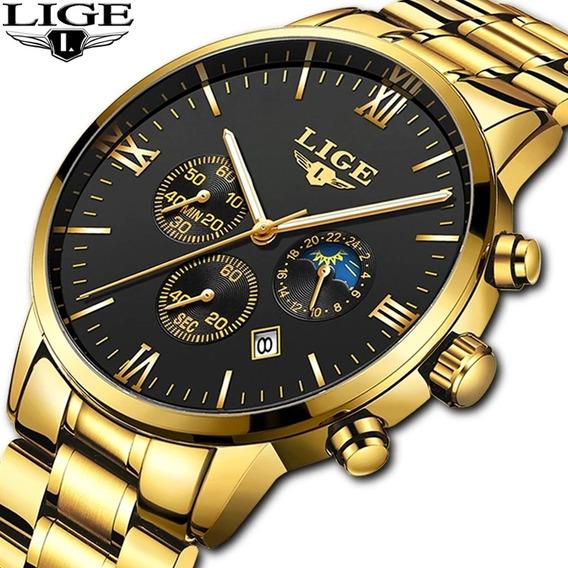 Relógio Inoxidável Masculino Lige 9831 Original Resist. Água