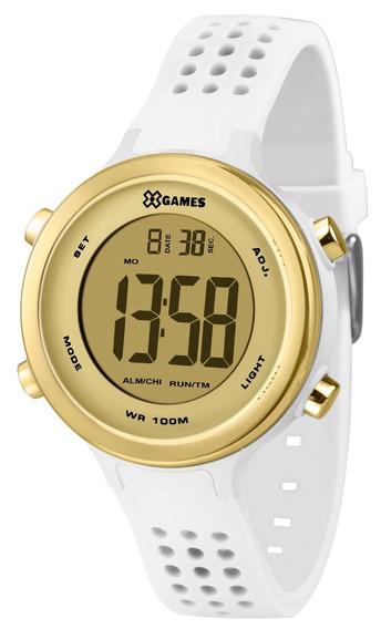 Relógio X-games Feminino Digital Xfppd064 Branco Dourado