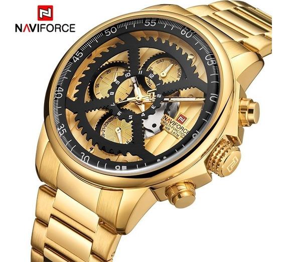 Relogio Masculino Naviforce 9150 Gold Original