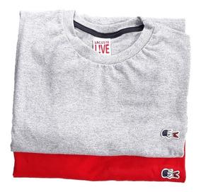 Kit 2 Camisetas Lacoste Slim Malha Peruana Camisa Grife