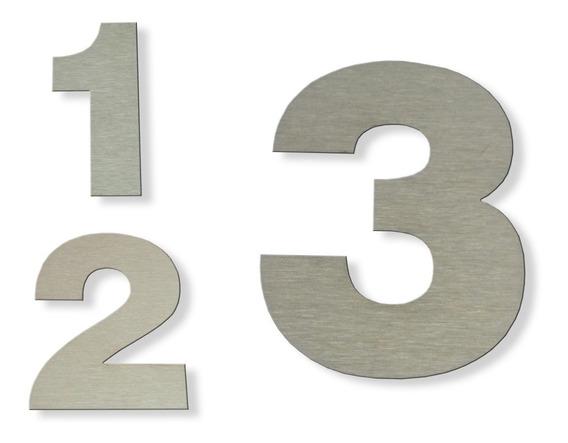Números Acero Inoxidable 15 Cm Dirección Frente Casa X 3 Un.