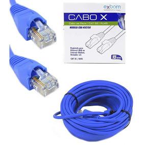 Cabo De Rede 15 Metros Montado Rj45 Ethernet Cat5e Lan Azul