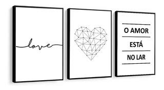 Quadros Decorativos Frase Amor Coração O Amor Está No Lar