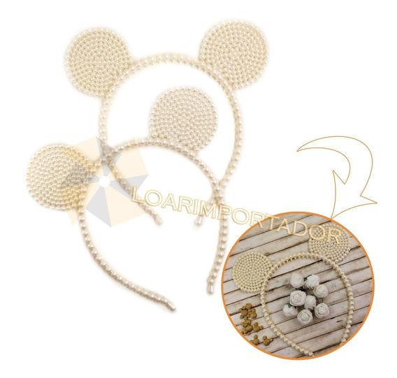 Vinchas Orejas Con Perlas Minnie Mouse Tiara Diadema X10