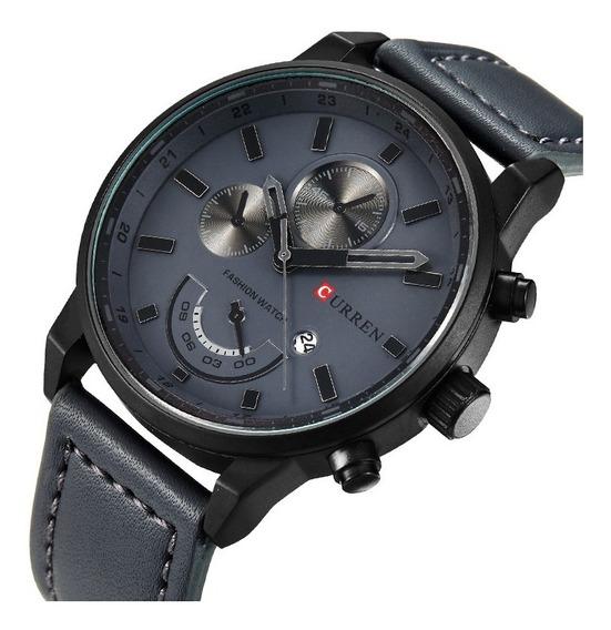 Relógio Curren Masculino Importado Original Couro + Brinde