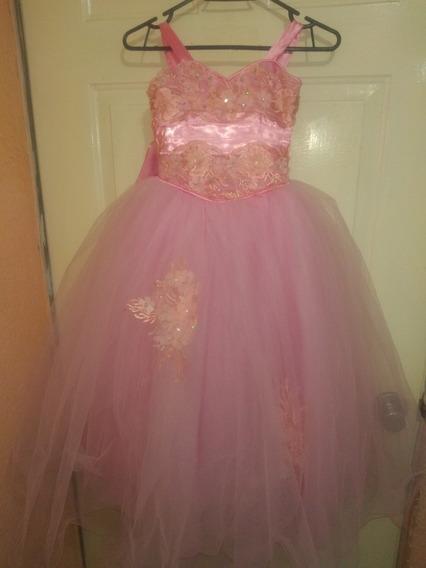Vestido Fiesta Graduación Para Niña Talla 6 Años Rosa Pastel