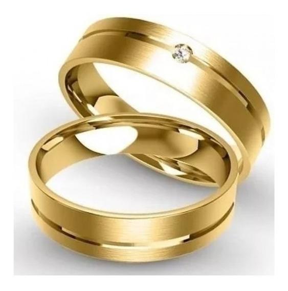 Par De Alianças Ouro 18k750 Com 5,0mm E 6grs Diamante Gratis