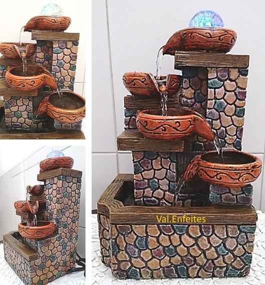 Fonte Decorativa Pedras Coloridas, 4 Quedas E Led - 220v