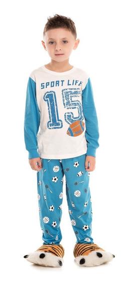 Pijama Infantil Menino Bicho Bagunça Futebol Americano