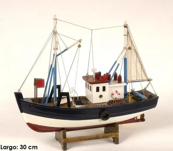 Barco De Madera Decorativo Pesquero Con Colección Miniatura