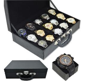 Caixa Maleta Estojo Porta 15 Relógios Acompanha 15 Espumas