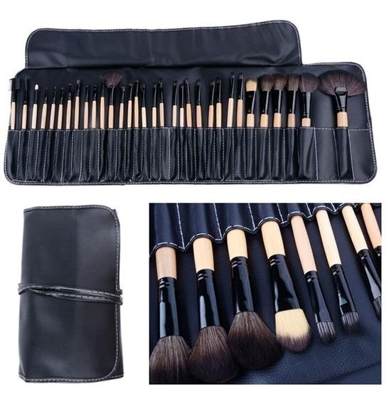 Set 24 Brochas Y Pinceles Para Maquillaje Profesional Con Estuche Cuero Ecológico Negro - Perfumeria Family