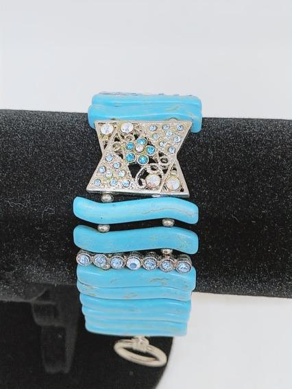 Pulseira Azul Acetado Com Pedraria- Semi-joias