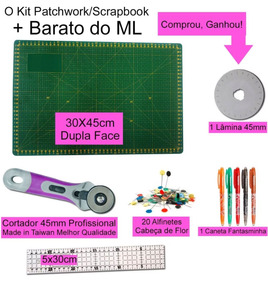 Kit Base Corte 30x45 Régua5x30 Cortador45mm Patchwork Scrapb