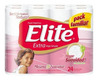 Papel Higienico Elite Hoja Simple Flor 30 Mt. X 24 U.