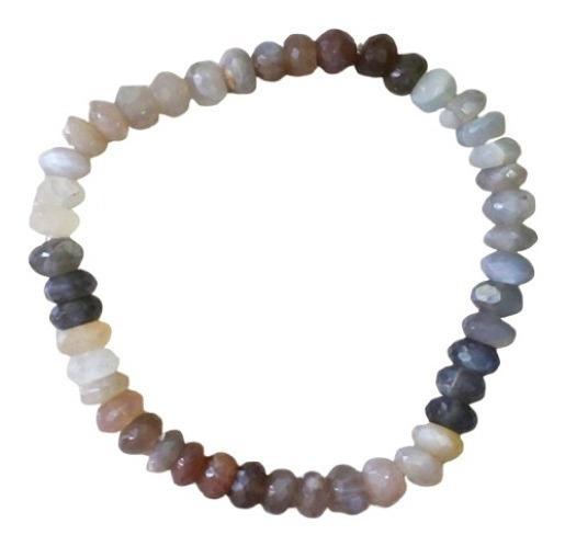 Pulseira Pedra Da Lua Natural Multicor Beads Facetado 6-9mm