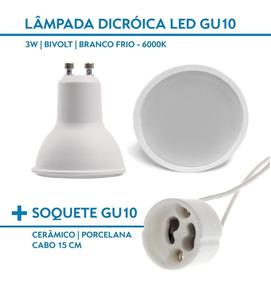 Kit 20 Lâmpadas Led Dicroica Gu10 3w 6000k + Soquete Gu10