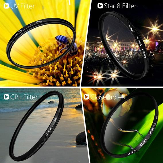 Andoer 52mm Uv + Cpl + Close-up + 4 + Estrela De 8 Pontas