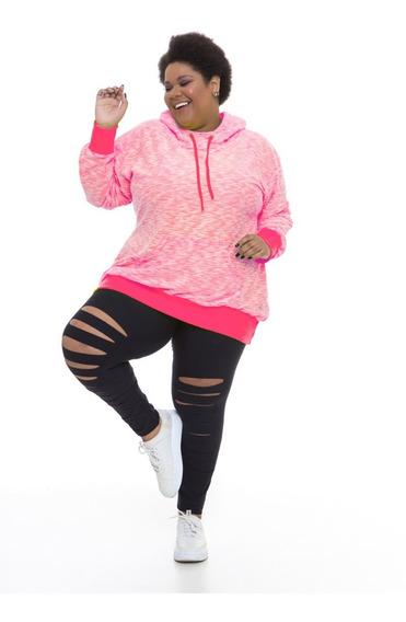 Blusão Moletinho Plus Size Wonder Size Rosa Neon