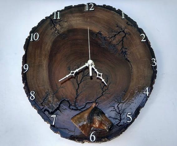 Relógio Parede Rústico Cavalo Madeira Ipê Envio Imediato