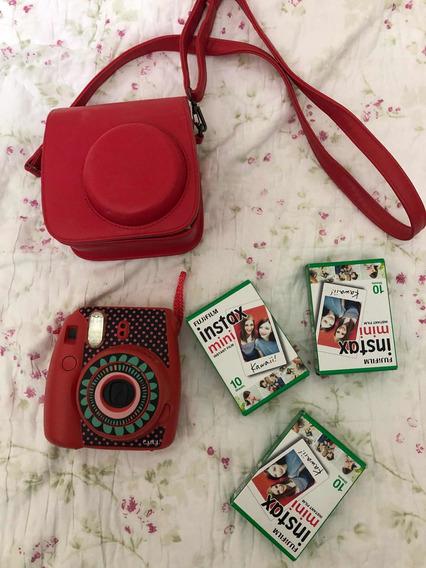 Câmera Instax Mini 8 Cereja Com Capa, Pack De Filmes E Deco
