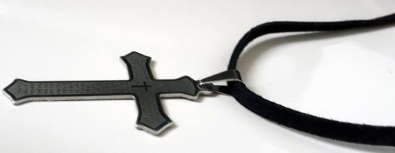 Colar Crucifixo Pai Nosso (preto)