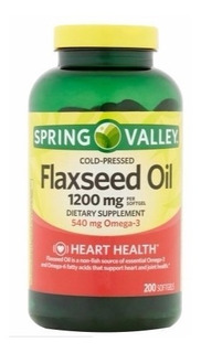 Flaxseed Oil 1200mg+540mg Omega3 200 Softgels Spring Valley