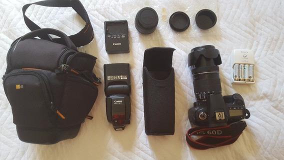 Camara Canon 60d + Lente 18 - 135 + 50 + Mala E Accessório