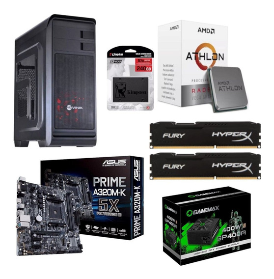 Pc Hunter Athlon 200ge A320m K Hx 2x 4gb Gp400 Ssd 240gb