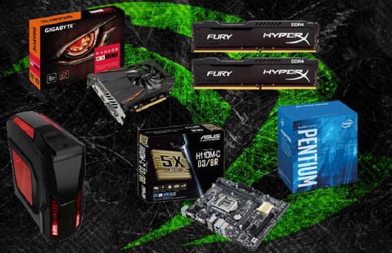 Pc Cpu Gamer Pentium G4560 / 8gb Hyper / Rx 550 / 500 Gb Hd