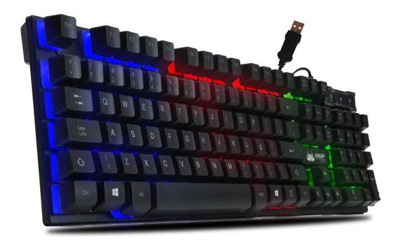 Teclado Iluminado Gamer Semi-mecânico Usb T2 Barato
