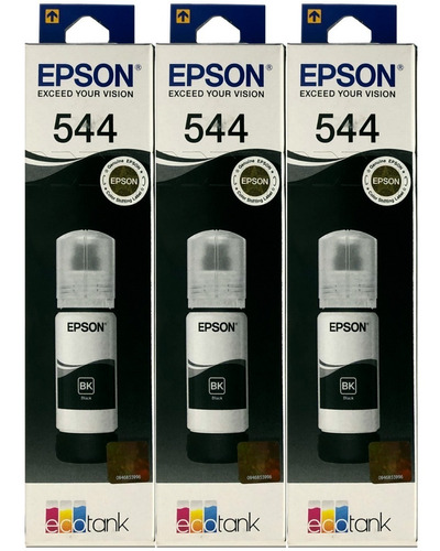 Combo 3 Botella Tinta Epson 544 Negro T544120 C13t00n12a