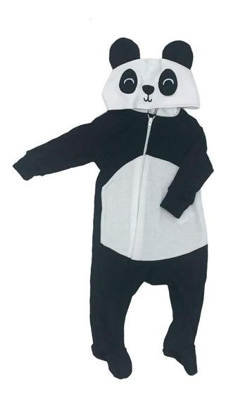 Mameluco Baby Kisses Algodón Con Gorro Bordado Oso Panda