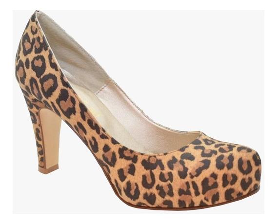 Zapato Stiletto De Cuero Con Taco Y Plataforma - Mujer