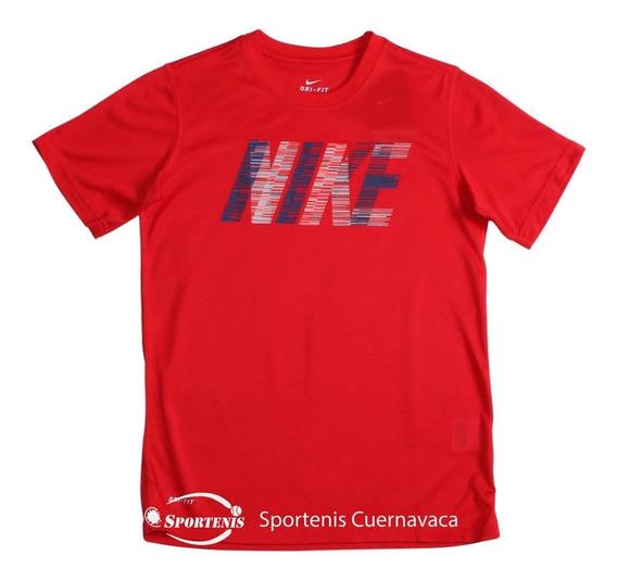 Playera Nike Dri- Fit Boys Para Tennis Rojo