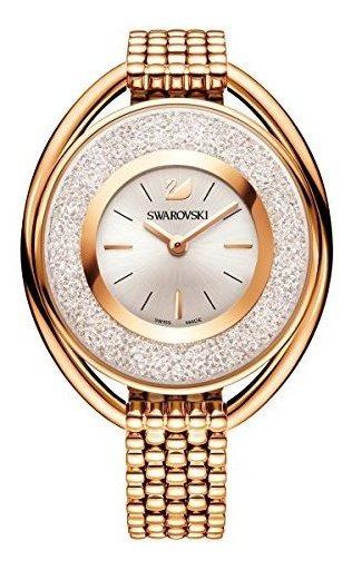 Swarovski Cristalino Oval Oro Rosa Tono Pulsera Reloj 520034