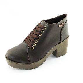Bota Coturno Quality Shoes Feminina Marrom
