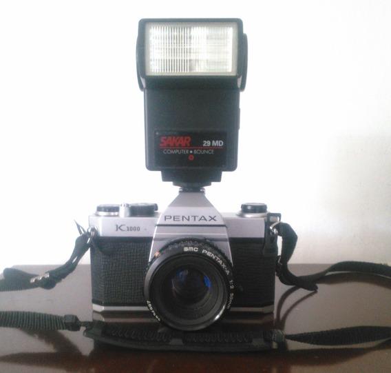 Camara Pentax K1000 - 50mm + Flash Vintage + Estuche