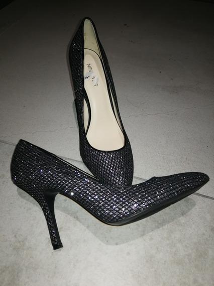 Stilettos Negros Y Plateados, Sin Uso