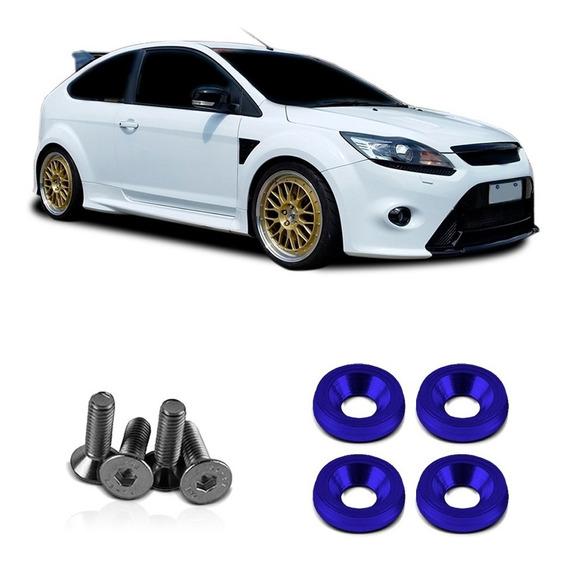 Jogo Parafuso Aluminio Azul Para Carro Tunning