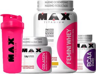 Quit Suplemento Wey Protein Feminino Bcaa Colageno Promoção