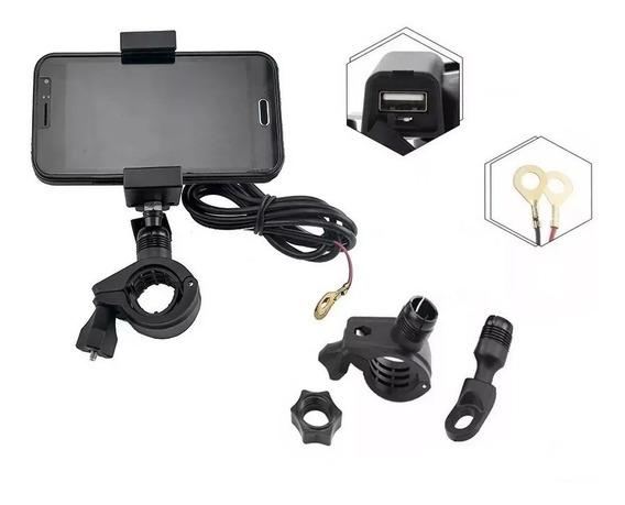 Suporte Para Gps Celular Moto Com Carregador Para Guidão Ou Retrovisor Parafuso Da Mesa