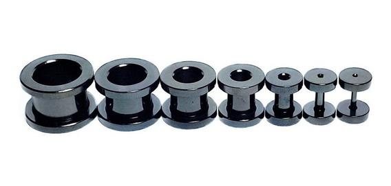 Alargador Acrilico Preto Par 1mm 2mm 3mm 4mm 5mm 6mm 8mm 10m