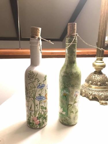 Botellas Pintadas A Mano Con Decoupage Y Pinceladas