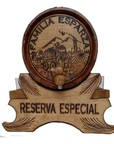 Barril De Madera Personalizado 5 Lts. Base Con 4 Copas Lleno